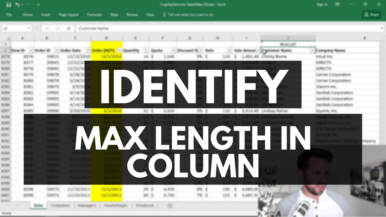 Excel Tip: Identifying The Max Length Of Values In A Column  Ben Sullins   Data Geek