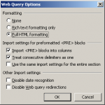 Excel Web Query Import Options Dialogue