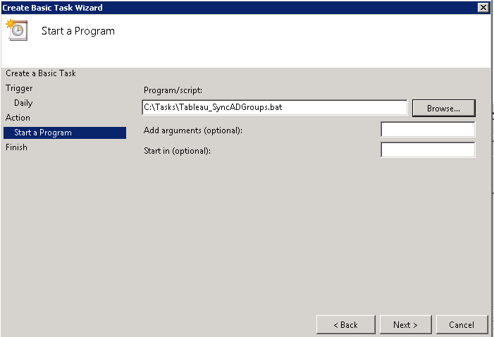 Create a Windows Scheduled Task to Automate the Synchronization of Active Directory Groups into Tableau Server