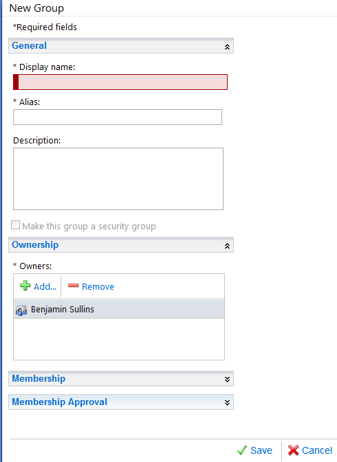 Outlook Web Access New Group Dialogue for Tableau Server